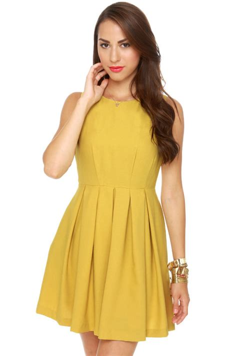 Classic Yellow Dress   Sleeveless Dress   Mustard Dress   $56.00