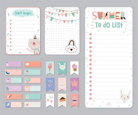 daily planner template vector cute calendar daily and weekly planner stock vector