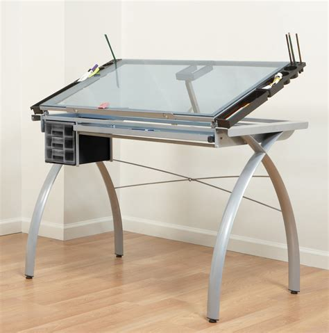 draft table desk studio rta design futura glass top drafting table