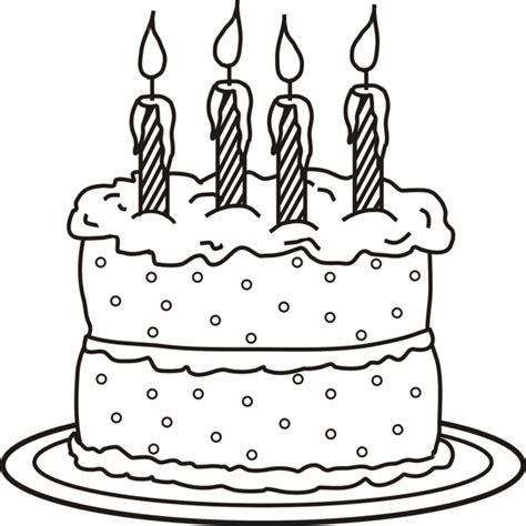Coloring Pages Birthday Cake Candles | birthday cake with 4 candles coloring page scrapbooking