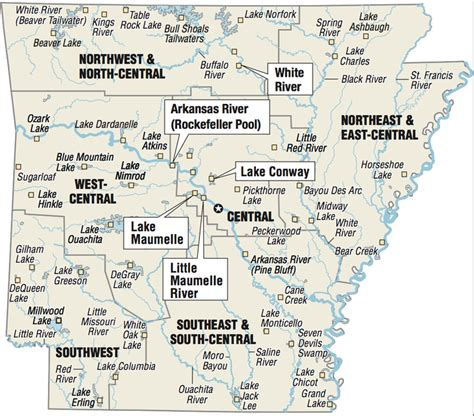 A map showing the location of Arkansas fishing spots.