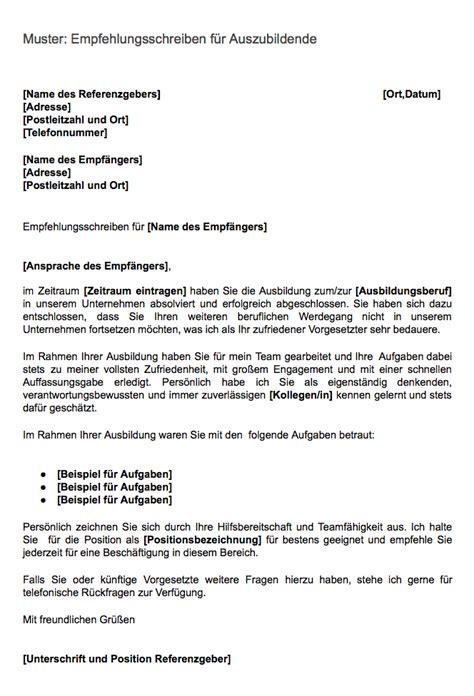 referenzschreiben beispiel kostenlos muster kostenlos empfehlungsschreiben f 252 r auszubildende