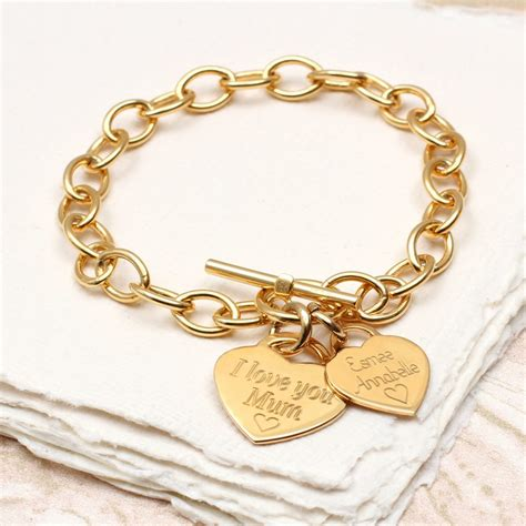 Charm Gold personalised yellow gold charm chain bracelet hurleyburley