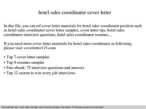 Cover Letter Sle Hospitality Hotel Sales Coordinator Cover Letter