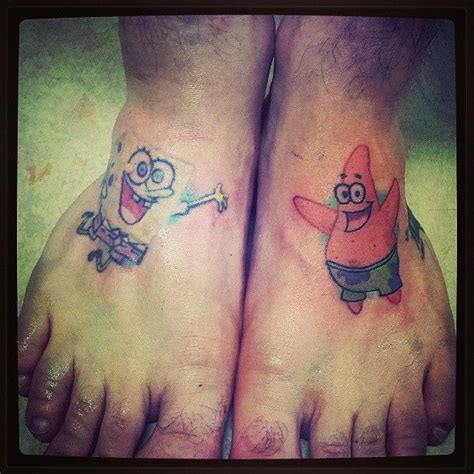 spongebob tattoo designs a best friend design of spongebob and