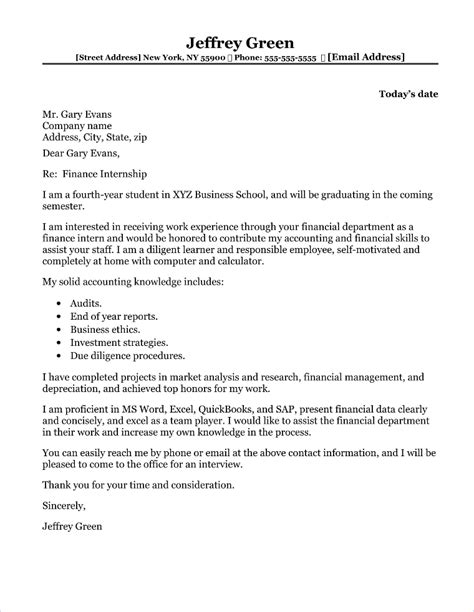 sample cover letter for internship college student cover letter for