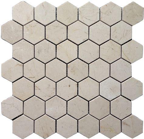 crema marfil marble 2x2 hexagon mosaic tile polished