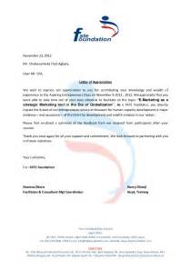 Appreciation Letter Writing Appreciation Letter From Fate Foundation