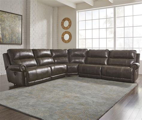 ashley durablend sectional ashley dak durablend 5pc power reclining sectional dallas