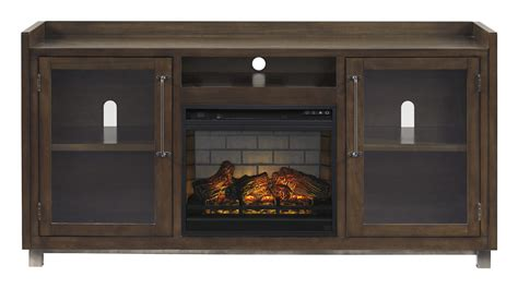 ashley furniture starmore brown xl tv stand  fireplace