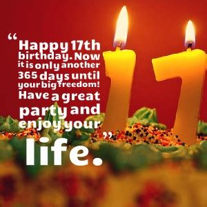 Quotes For 17th Birthday Happy 17 Birthday Quotes Quotesgram