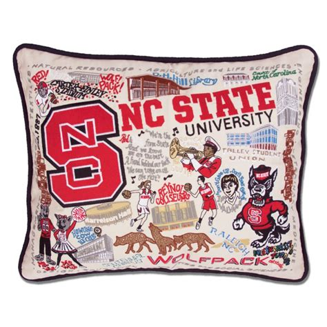 nc state embroidered pillow
