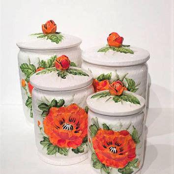 retro orange poppies kitchen canisters set and breadboard shop flour jar on wanelo