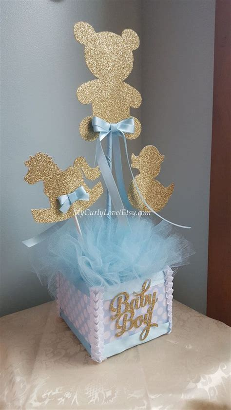 boy baby shower centerpiece gold and baby blue baby shower