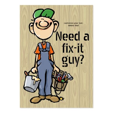Handyman Gift Card - handyman fix it carpenter painter job search earn large business cards pack of 100
