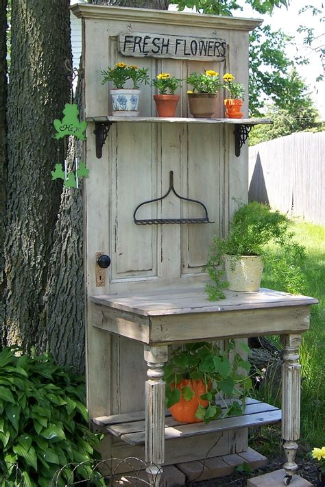 corner potting bench my husband a friend constructed this from an old door