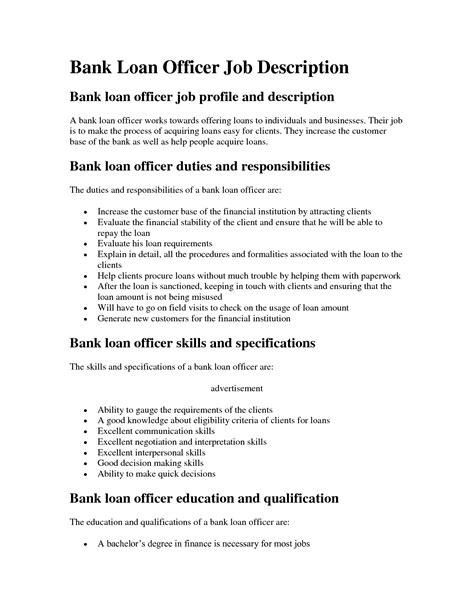 Loan Officer Description For Resume mortgage loan officer description sle