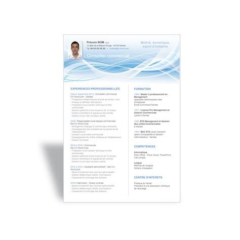 Modele Cv Commercial Word by Exemple Mod 232 Le Cv Word Conseiller Commercial Cv Word