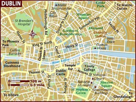 printable map dublin city centre map of dublin