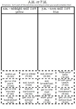 Am And Pm Worksheets by Am Pm Activity Sort By Toni Mehring Teachers Pay Teachers