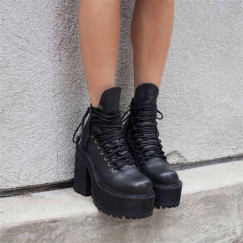 shoes boots black boots black lace boots platform