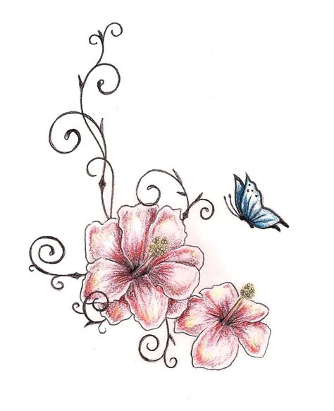 design flower and butterfly amazing two hibiscus flower with butterfly tattoo design