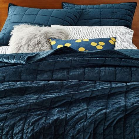Cotton Velvet Quilt by Washed Cotton Luster Velvet Quilt Shams Regal Blue
