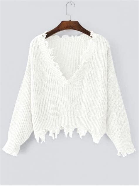 Sweater White ripped v neck sweater white sweaters one size zaful