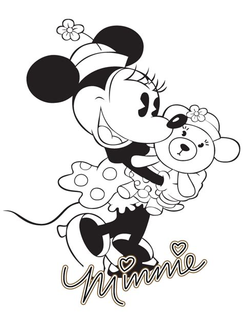 classic minnie mouse coloring pages classic minnie mouse with teddy bear coloring page h m