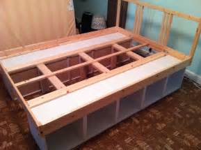 Bed Frames With Storage Underneath How To Build Platform Bed Frame With Storage