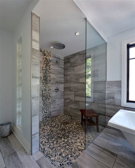 waterfall shower head bathroom contemporary with master