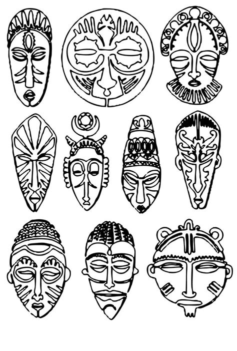 zulu african masks coloring pages pictures to pin on