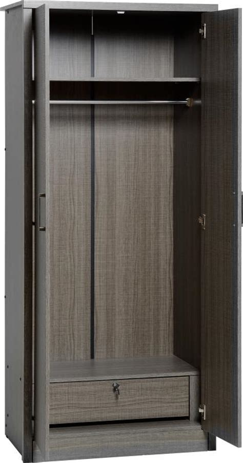 Black Wood Wardrobe Lisbon 2 Door Wardrobe Black Wood Grain