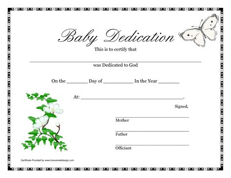 baby certificate template baby dedication certificate template free