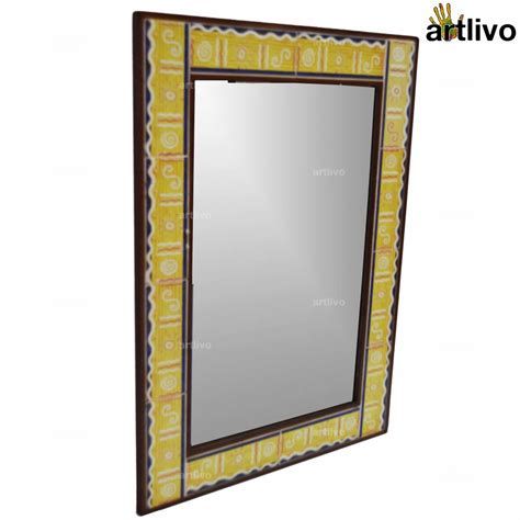 large yellow handcrafted bathroom wall hanging tile mirror
