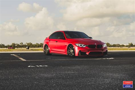 custom bmw 2017 bmw m3 facelift in red gets custom vossen wheels