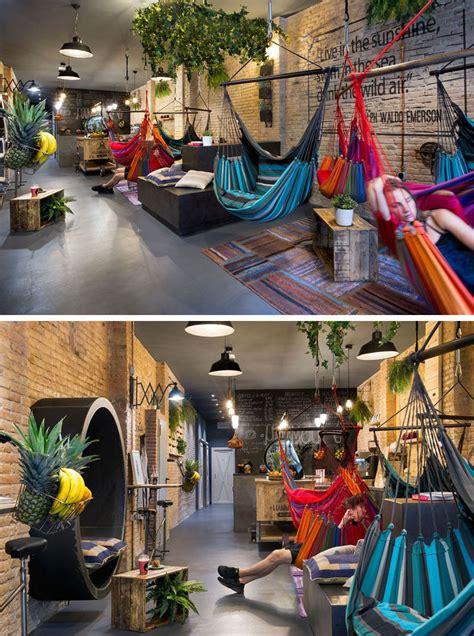 juice bar  spain  filled  hammocks contemporist