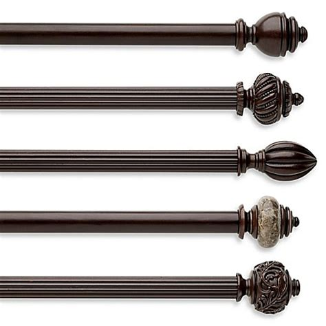decorative drapery rods cambria chocolate fluted wood pole decorative window