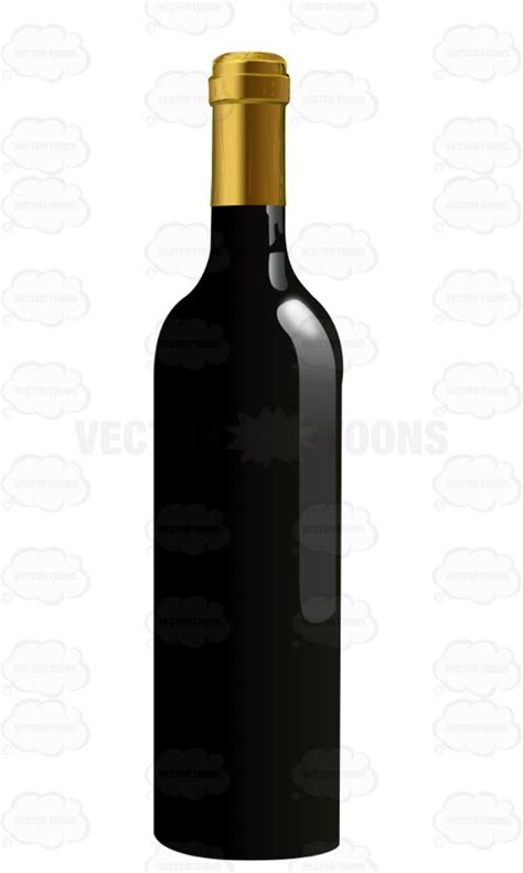 cartoon wine bottle black wine bottle with a gold cap cartoon clipart vector