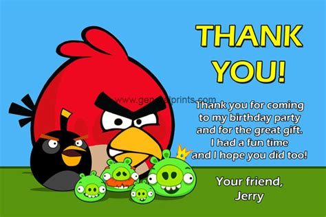 Printable Thank You Card Angry Birds | angry birds birthday invitations classic and space