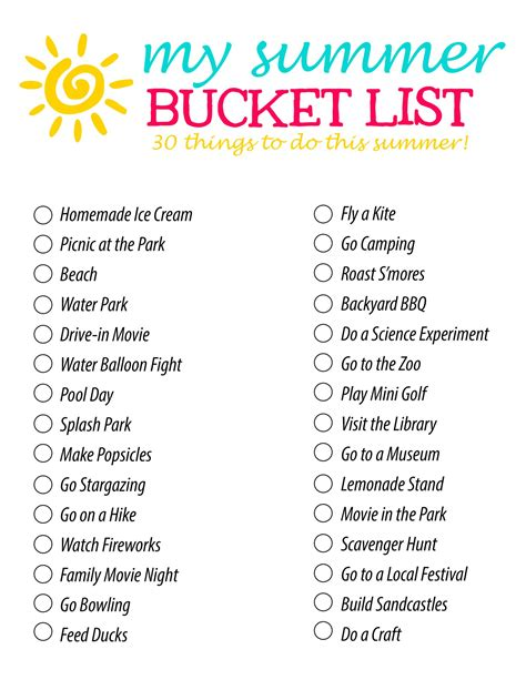 summer bucket list 30 fun summer activity ideas for families and kids