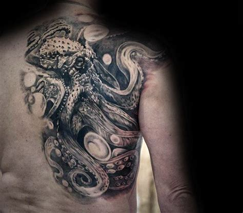black and grey octopus tattoo 30 octopus back tattoo designs for men underwater ink ideas