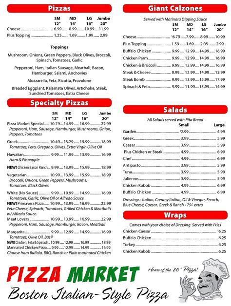pizza dinner menu pizza market menu auburn maine restaurant menusinla