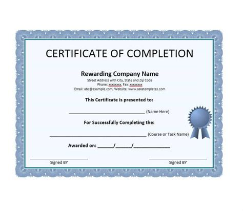 certificate of completion template certificate of completion template images
