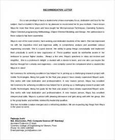 Recommendation Letter For Student Project Sle Letter Of Recommendation For Student 8 Exles In Pdf Word