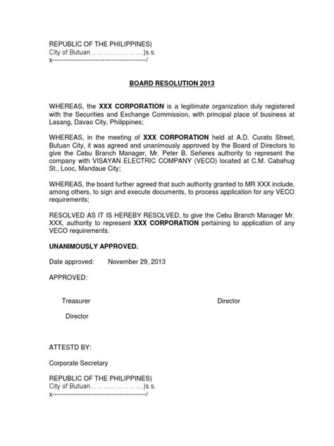 Resolution Letter Open Bank Account Sle Sle Letter Of Board Resolution To Open Bank