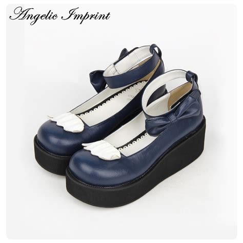 Wedges 7 Cm Hs101 aliexpress buy 7cm wedge heel sweet shoes navy blue leather bowknot ankle