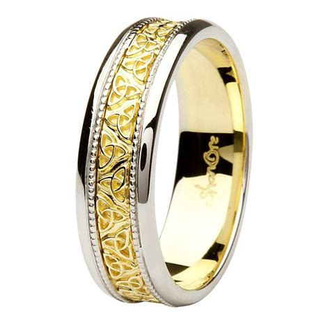 celtic trinity knot  tone  gold gents wedding ring