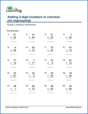 maths grade 2 worksheets addition grade 2 math worksheet