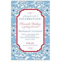 blue china bridesmaids luncheon invitations paperstyle
